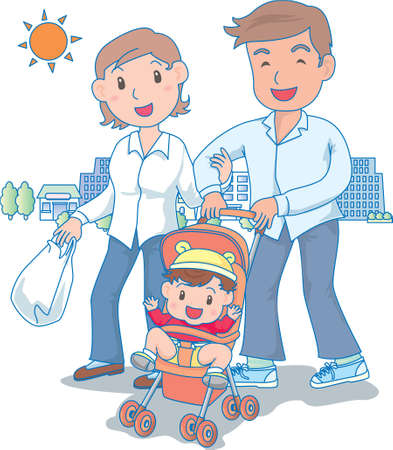 Vector Illustration of an happy family strolling outdoors  イラスト・ベクター素材