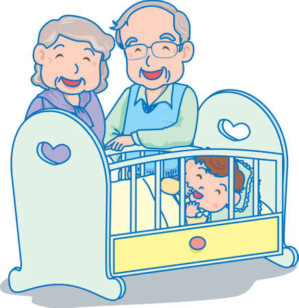 Vector Illustration of an happy baby inside crib with grand parents