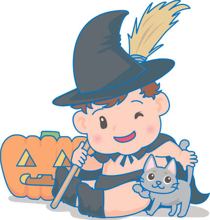 Vector Illustration of an happy baby in a wizard's costume. Halloween special
