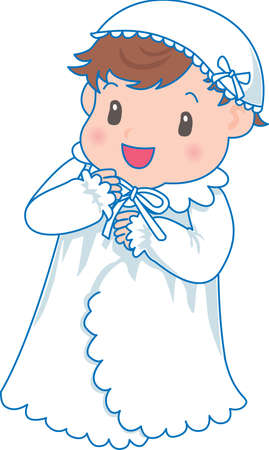 Vector Illustration of an happy baby wearing night robes