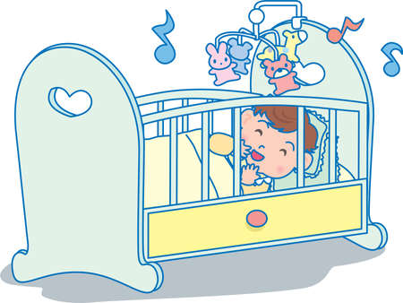 Vector Illustration of an happy baby sleeping in a crib dreaming of toys  イラスト・ベクター素材