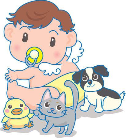 Vector Illustration of an happy baby playing with dog and kitty  イラスト・ベクター素材