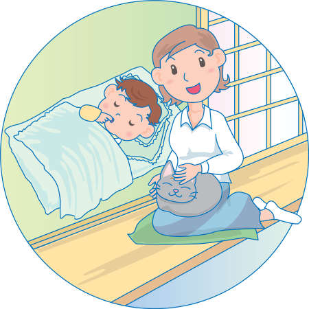 Vector Illustration of an mother telling bed time story to baby