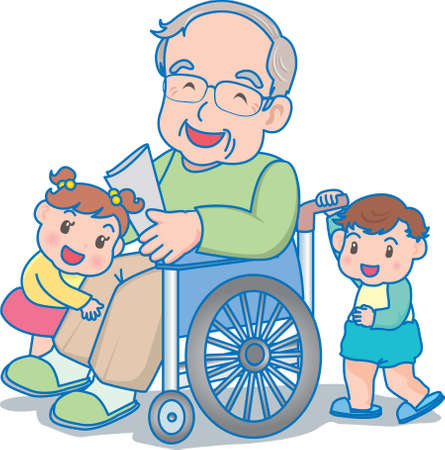 Vector Illustration of an happy children playing with grand father
