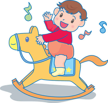 Vector Illustration of an happy baby riding a toy horse