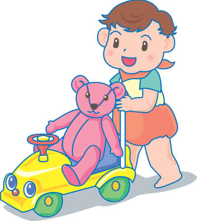 Vector Illustration of an happy baby pushing a trolley with teddy bear