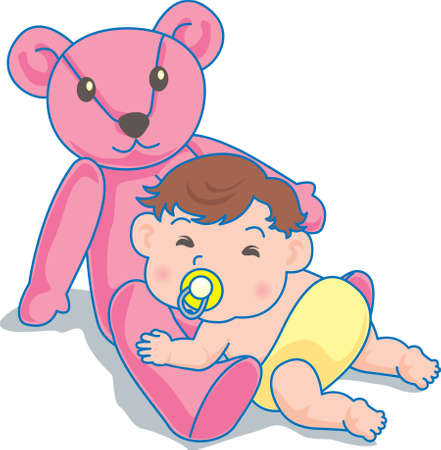 Vector Illustration of an happy baby playing with teddy bear