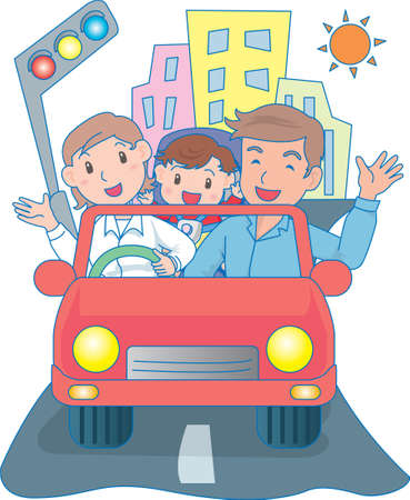 Vector Illustration of an happy family driving in a car