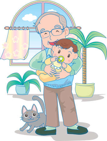 Vector Illustration of an happy baby playing in grand father's hands.  イラスト・ベクター素材