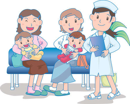 Vector Illustration of happy mothers visiting hospital with babies