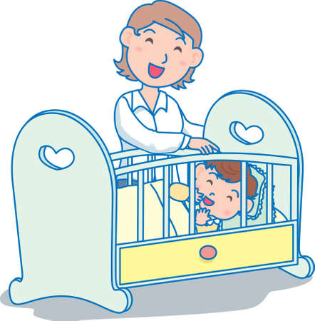 Vector Illustration of an happy mother putting baby to sleep