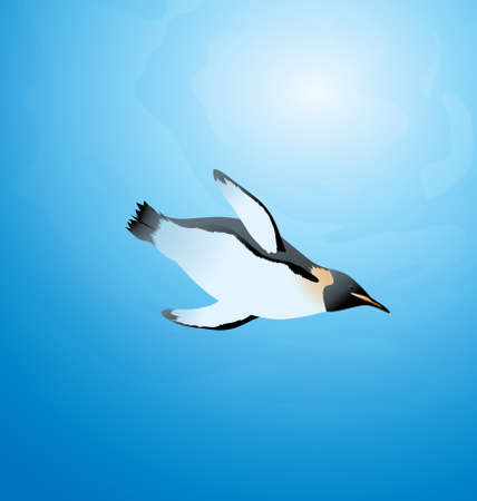 Vector Illustration of a penguin swimming under water in the ocean hunting food  イラスト・ベクター素材
