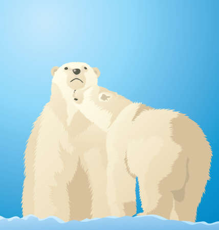 Vector Illustration of Polar Bears playing in the snow in the antarctic.  イラスト・ベクター素材