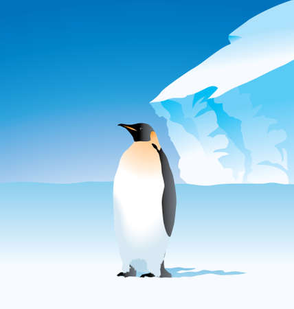 Vector Illustration of arctic penguin on the sea shore on the ice berg.  イラスト・ベクター素材