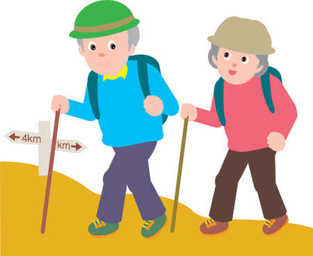Vector Illustration of an old couple Hiking the mountain together.