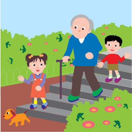 Vector Illustration of an old man walking down the stairs in a park with his grand children and a puppy.