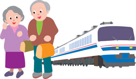 Vector Illustration of an old couple travelling via train together