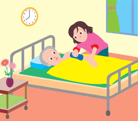 Vector Illustration of a daugther giving sponge bath to elderly man on bed.