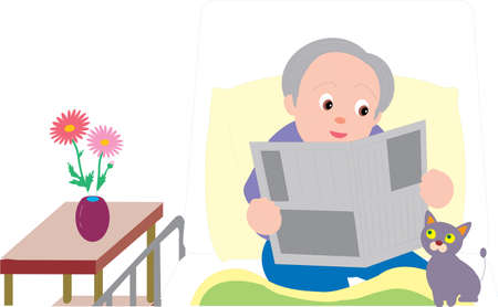 Vector Illustration of an old woman reading news paper sitting on a hospital bed.