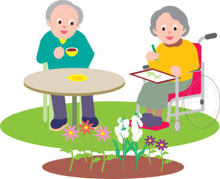 Vector Illustration of an old couple making a painting of a plant and having tea.