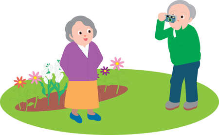 Vector Illustration of an old couple taking pictures in the garden.