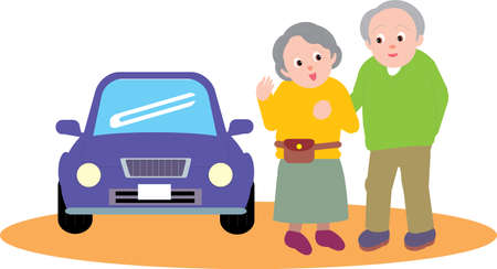 Vector Illustration of an old couple outdoors with a car.