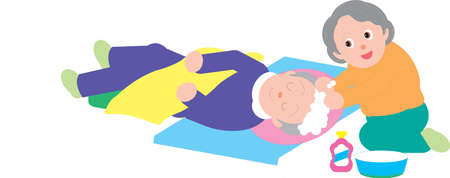 Vector Illustration of an old woman washing hair of an old man sleeping on bed.