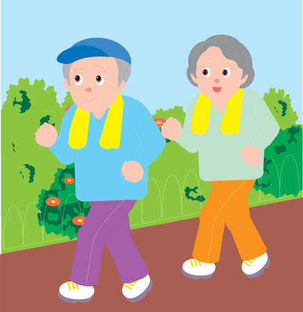 Vector Illustration of an old couple Jogging in the park.