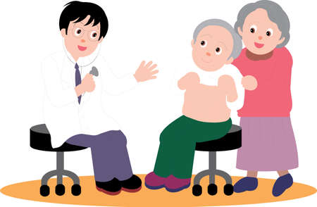 Vector Illustration of an old couple consulting a doctor for routine checkup.