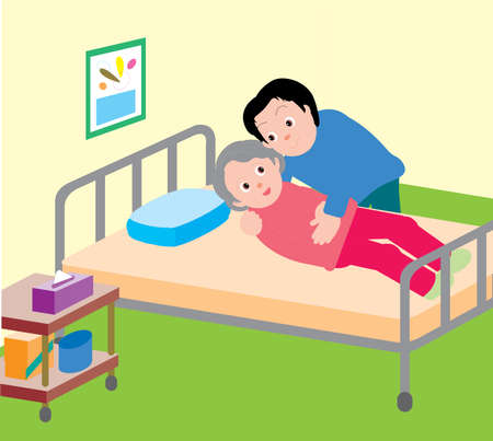 Vector Illustration of a son helping he elderly mother to sleep on the bed.  イラスト・ベクター素材