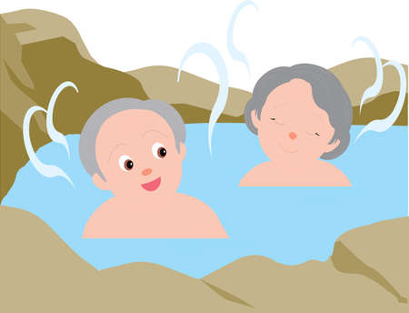 Vector Illustration of an old couple taking bath in an hot spring.