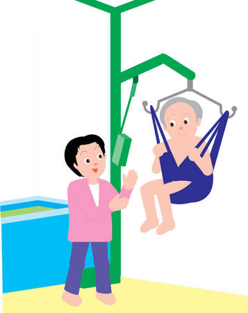 Vector Illustration of a son helping his old aged mother with electronic lift.