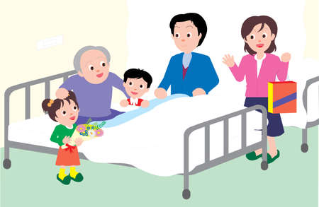 Vector Illustration of a family visiting an old man in hospital.  イラスト・ベクター素材