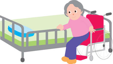 Vector Illustration of an old woman getting up from a wheel chair.  イラスト・ベクター素材