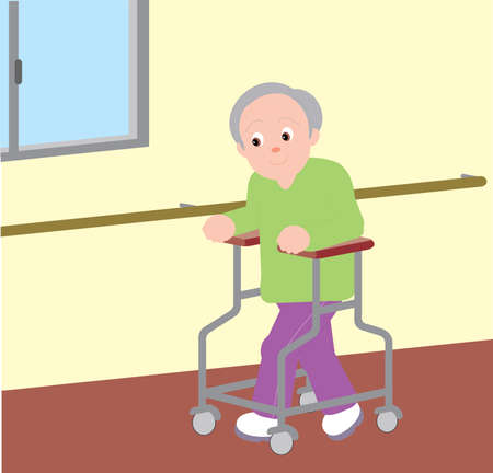 Vector Illustration of an old man walking with the support of walking aid.  イラスト・ベクター素材