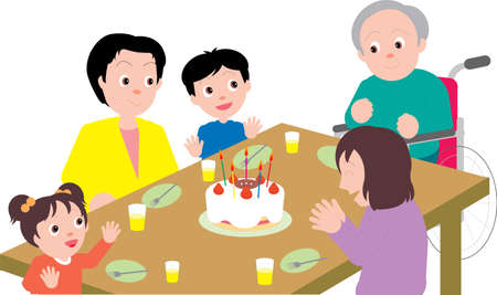 Vector Illustration of Family celebrating birthday together.  イラスト・ベクター素材