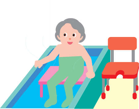 Vector Illustration of an old woman taking bath in hot tub.  イラスト・ベクター素材