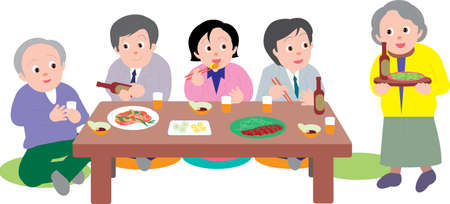 Vector Illustration of a group of people having dinner together sitting in japanese style.