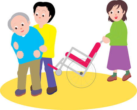 Vector Illustration of a son and his wife helping an elderly father from the wheel chair.