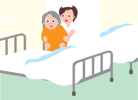 Vector Illustration of a nurse helping an old woman into hospital bed.