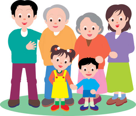 Vector Illustration of a happy family going out together. Vettoriali