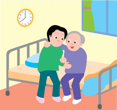 Vector Illustration of a son helping his elderly father on his bed.
