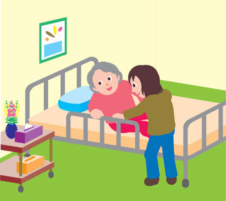 Vector Illustration of a young woman helping an elderly woman to sit on a hospital bed.  イラスト・ベクター素材