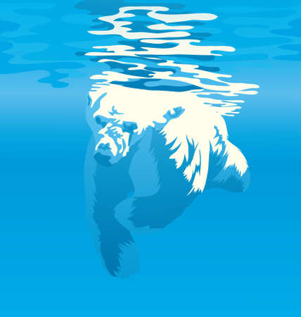 Vector Illustration of a Polar bear diving in to water to catch fish. Illustration
