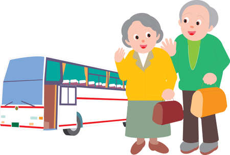 Vector Illustration of an old couple travelling via bus together Vectores