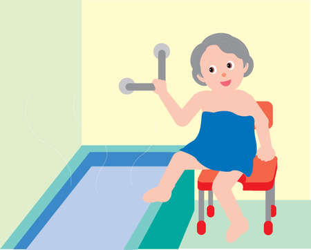 Vector Illustration of an old woman entering a bath tub wrapped in a towel. Illustration