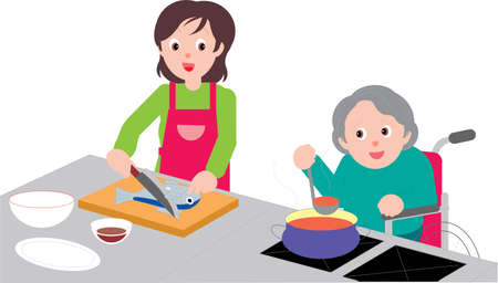 Vector Illustration of two women, young and old cooking together. Illustration