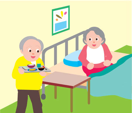 Vector Illustration of an old man getting food for old woman on hospital bed.