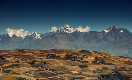 Landscape of Cusco region in Peru. View on the peak of the mountain