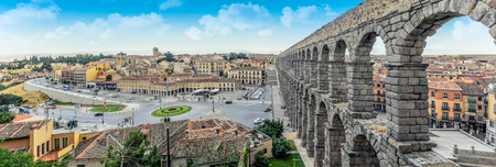 Panoramic view at Plaza del Azoguejo and the historic Roman aqueduct.